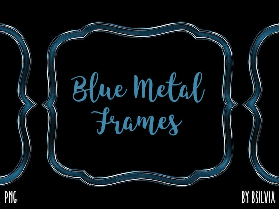 Blue Metal Frame Clipart, Metal Border Clipart, Digital Metal Label Clip Art, Blue Metal Banner, Blue Metal Frames, Commercial Use