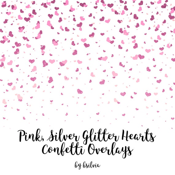 Pink Silver Glitter Hearts Confetti Overlays, Hearts Confetti Transparent PNG files, Hearts Confetti Photo Overlays, Pink Glitter Confetti