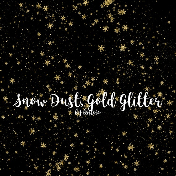 Gold Glitter Snow Dust, Gold Glitter Snowflakes Confetti Overlays, Gold Snowflakes Overlays, Transparent PNG files, Winter Overlays