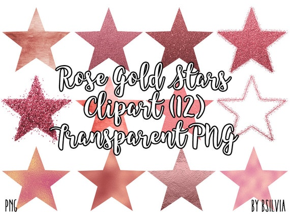 Rose Gold Stars Clip Art, Glitter Rose Gold Stars Transparent PNG, Star Clip Art, PNG Rose Gold Star, Digital Clip Art, Commercial Use