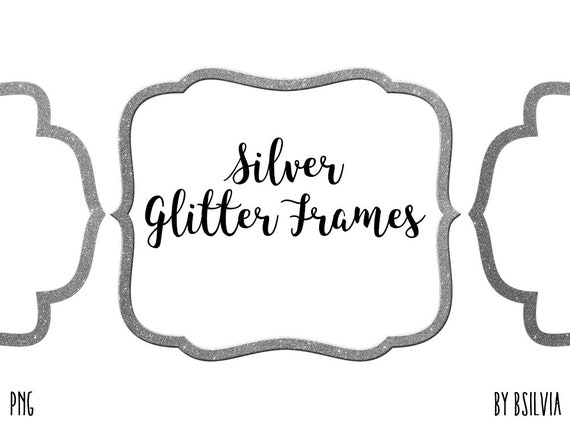 Silver Glitter Frame Clipart, Silver Glitter Border Clipart, Silver Label Clip Art, Silver Glitter Banner, Silver Transparent PNG