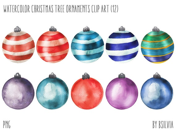 Watercolor Christmas Tree Ornaments, Watercolor Christmas Tree Bulbs Clip Art, Watercolor Christmas Tree Ornaments PNG files