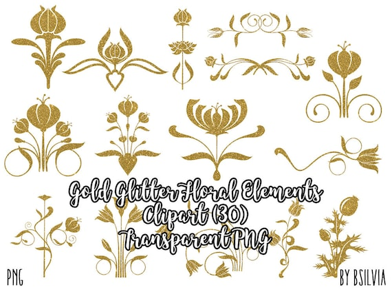 Gold Glitter Floral Clip Art, Gold Glitter Clip Art, Gold Glitter Embellishments, Digital Scrapbooking Gold Glitter Clip Art, Commercial Use