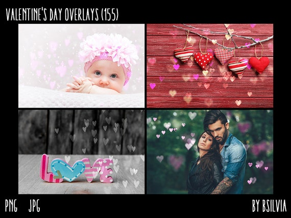 Valentine's Day Overlays, Hearts Overlays, 155 Hearts Bokeh Overlays, Heart Textures, Hearts Pattern, Instant Download, Commercial Use