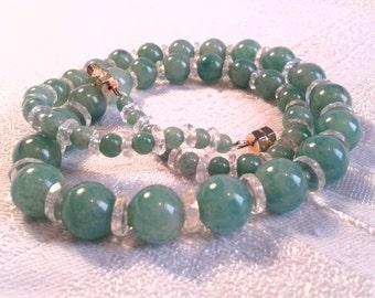 "Art Deco Peking Glass Bead Necklace, 20s, 30s. ""Faux"" Jade Green."