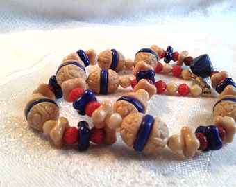 Vintage Egyptian Revival Glass Bead Necklace, 30's.
