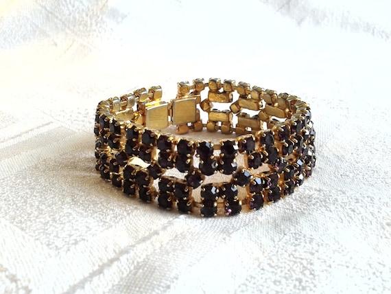 Great Cond Expandable Vintage Jewellery. Brilliant for a Bride Vintage 1950s Diamante Cuff Bracelet