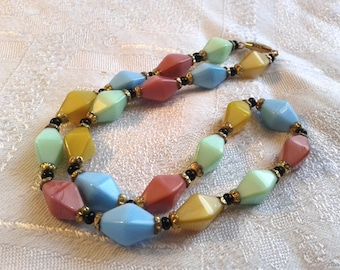 Vintage 50's, Harlequin Glass Bead Necklace, Multicoloured Satin Glass Beads.