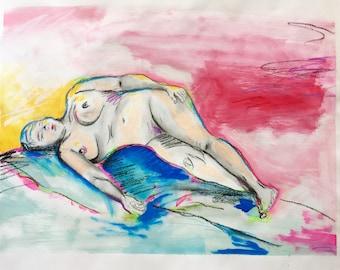 Neon Nude II  18x24 original mixed media illustration on paper