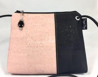 Cross body bag, cork purse, vegan bag, Cork fabric, pink purse,  black bag, pink and black purse, vegan leather, vegan gift, sustainable
