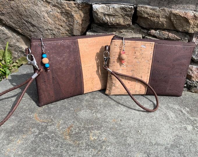 Wristlet, Cork wristlet, vegan purse,  tan wristlet, neutral bag, brown wristlet, cork fabric bag, cork purse, vegan bag