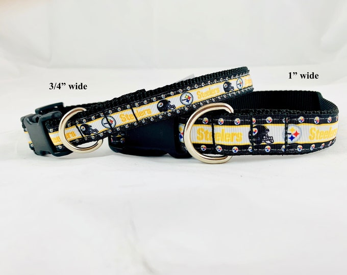 Pittsburgh steelers dog collar, Football team dog collar, martingale collar, pet gift, dog gift, dog accessory, pet collar, Bozies Bags