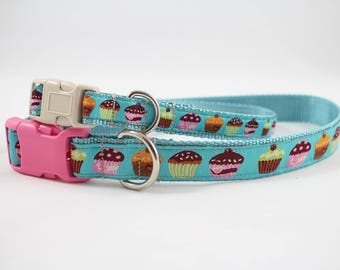 cup cake dog collar, blue collar, cup cake gift, light blue collar, pet accessory,  pet gifts, dog gifts, Bozies Bags, dog accessories
