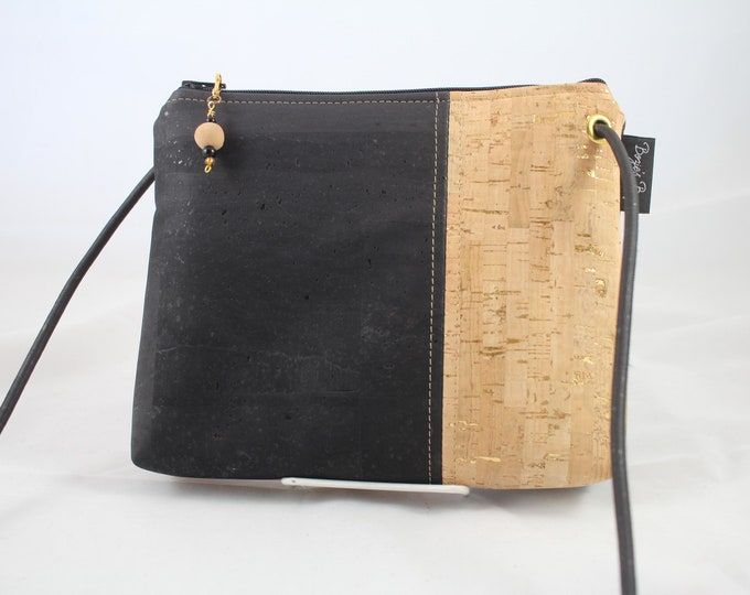 Black Cross body bag, cork purse, vegan bag, cork fabric bag,adjustable cross body bag, black purse, vegan gift for women.