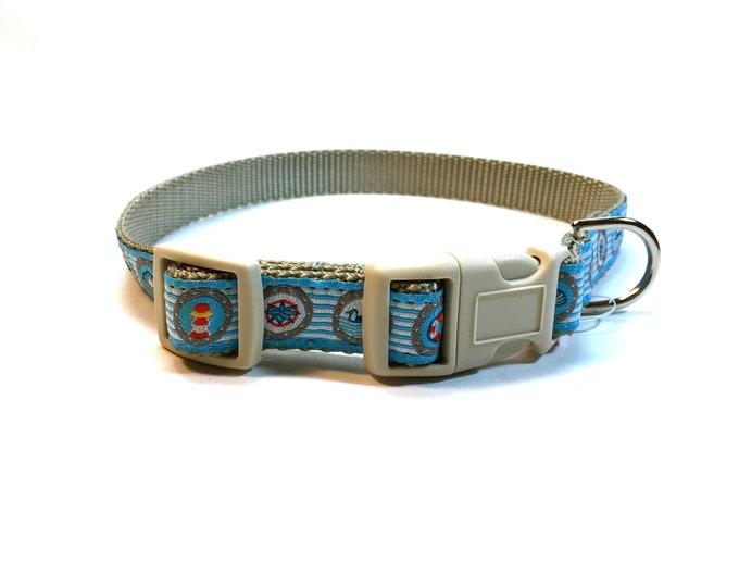 dog collar, nautical dog collar, light blue dog collar, small dog collar, pet gift, dog accessory