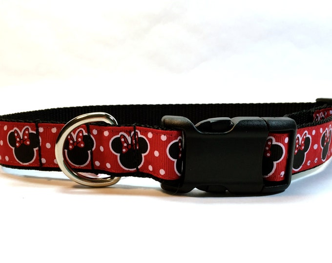 Disney inspired dog collar, Mickey ears collar, mini mouse dog collar, mouse dog collar, red collar, dog accessory, Bozies Bags