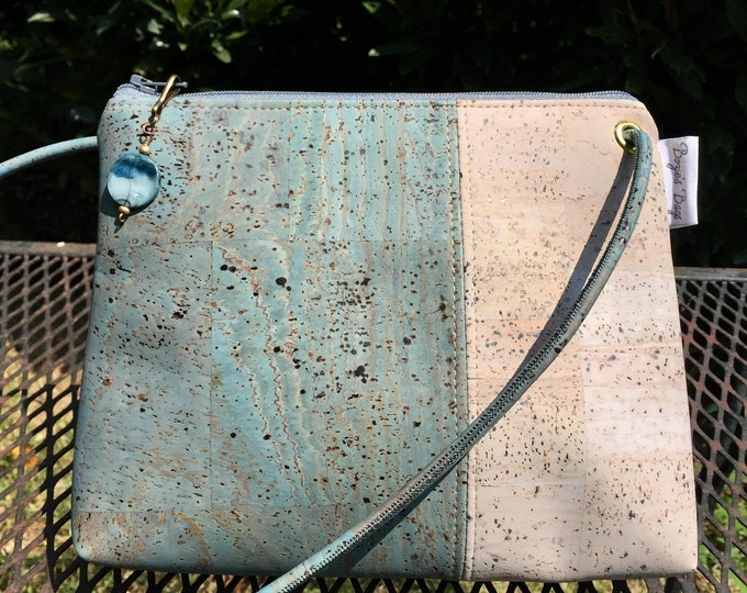 Cross body bag, cork purse, vegan bag, Cork fabric, adjustable cross body bag, teal bag, grey bag, vegan leather gift, sustainable gift