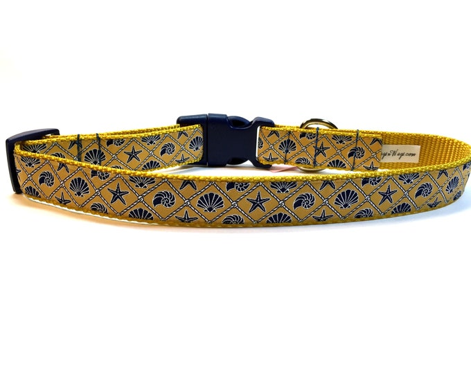 dog collar, yellow collar, sea shells collar, beach collar, beach motif collar. pet gift, dog accessory