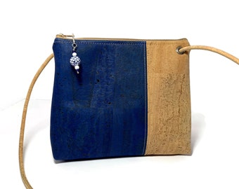 Abigail Cross Body Bag in denim blue and natural cork with crab print lining