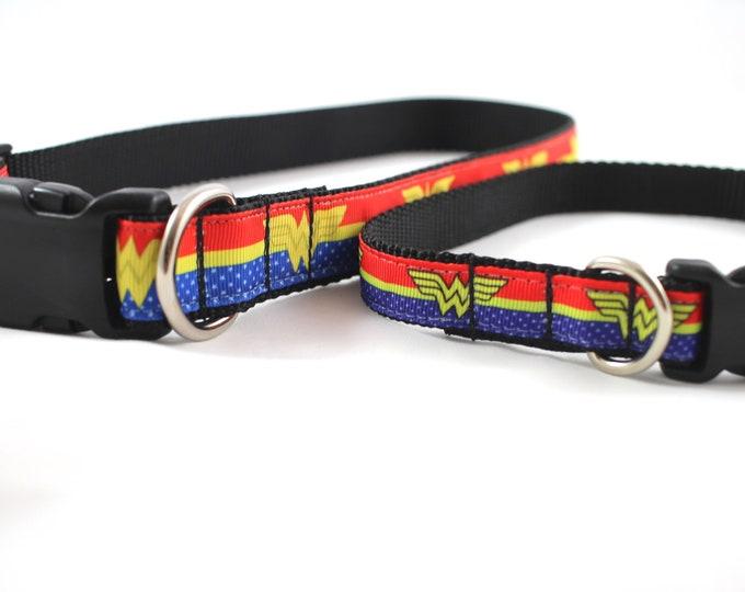 Wonder Woman inspired dog collar, DC comics dog, superhero dog, small dog collar, Large dog collar,  nylon collar, pet gift, dog accessory