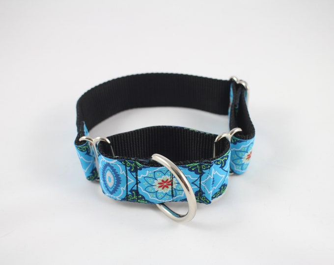 "blue dog collar, woven ribbon dog collar, Martingale 1.5"" inch wide collar, gentle choker collar, pet accessory by Bozies Bags"