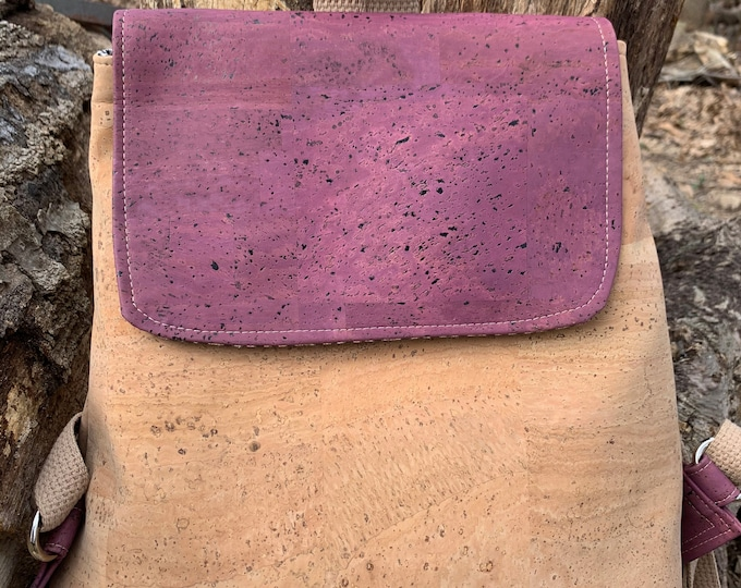 Cork backpack, convertible backpack, backpack purse, purple bag, plum backpack, vegan bag, cross body bag, backpack purse, vegan bag