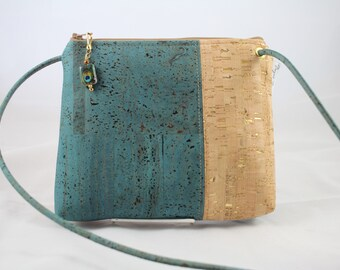 Cross body bag, cork purse, vegan bag, Cork fabric, adjustable cross body bag, teal bag, vegan leather gift, sustainable gift