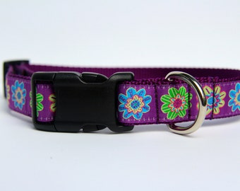 purple flowers dog collar, purple collar, flowered dog collar, pet gifts, dog gifts, Bozies Bags, dog accessories
