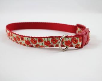 orange flower collar, medium dog collar, poppies, orange dog collar, red collar, pet accessories, pet gift, Bozies Bags