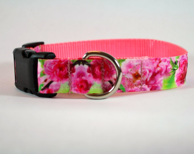 Cherry Blossom dog collar, pink dog collar, flower dog collar, girly collar, pet gift, dog accessory, bozies bags