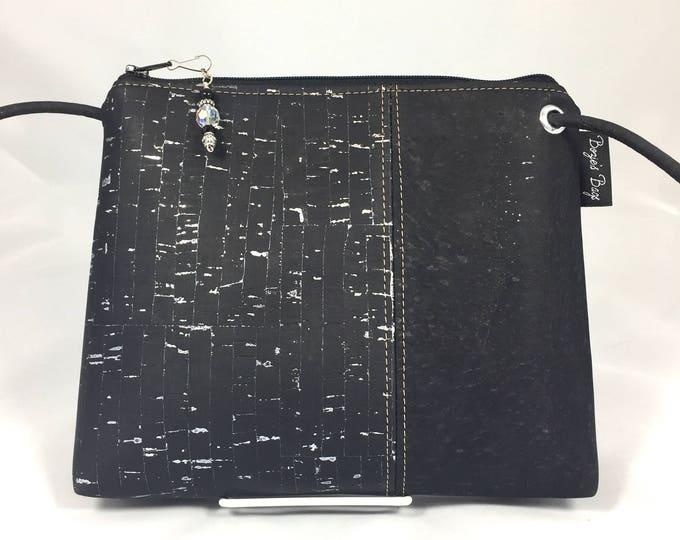 Cross body bag, cork purse, vegan, Cork fabric, black bag, silver purse, gold purse, vegan leather, vegan gift, sustainable