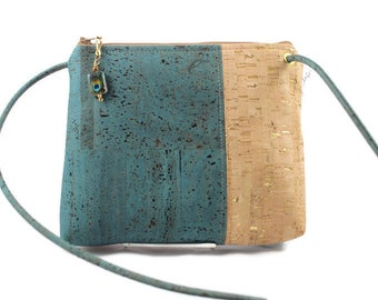 Abigail Cross Body Bag in dark teal and gold flecks