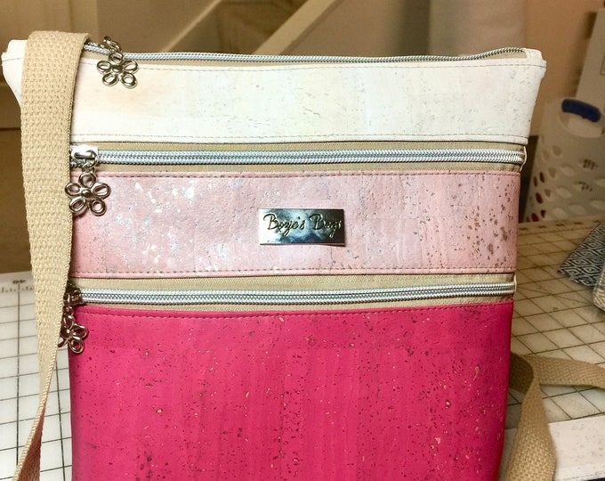 Triple zip bag, cork purse, pink bag, zipper sling bag, vegan purse, eco friendly bag,
