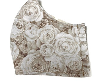 Cotton face mask for adult with cream roses