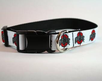 Ohio State inspired dog collar, Buckeye dog collar, nylon webbing collar, pet gift, dog accessory, Bozies Bags