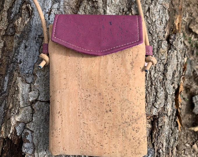 Cross body phone bag, phone purse, purple cork purse, cork purse, Cork fabric bag, tan purse, mini phone bag, vegan purse, vegan gift