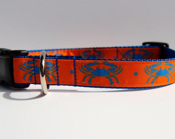 Dog collar, crab dog collar, Dog accessories, pet gift, orange dog collar, Bozies Bags Dog collar