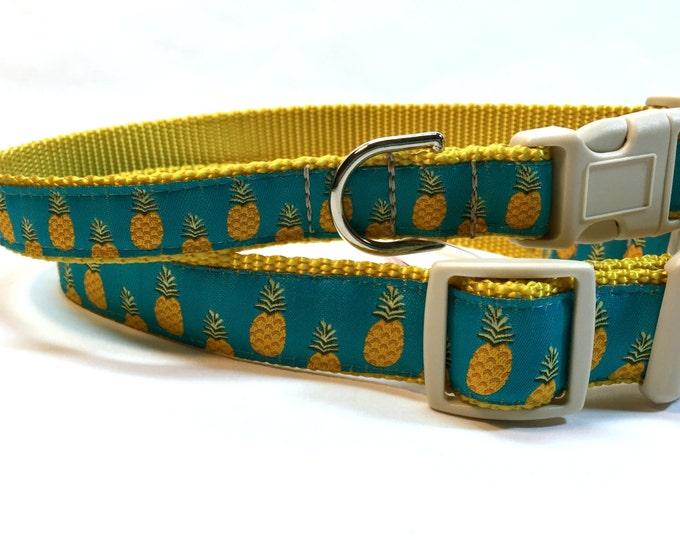 Pineapple dog collar, teal light blue collar, hospitality symbol collar, Martingale collar, pet accessory, pet gift, Bozies Bags