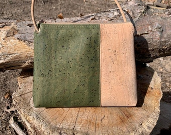 Cross body bag, cork fabric purse, vegan bag, adjustable cross body bag, olive green colored purse