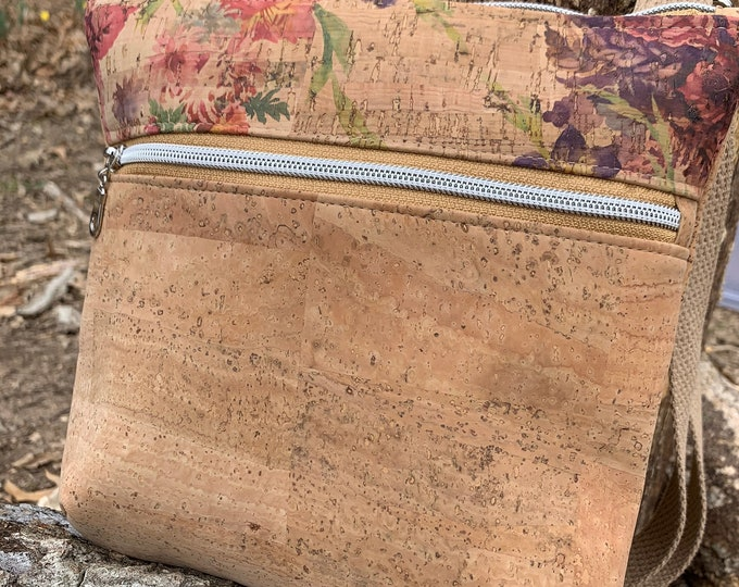 Double zip bag, cross body bag, cork purse, floral pink purse, natural cork bag, Koda cross body bag, zipper sling bag, vegan purse.