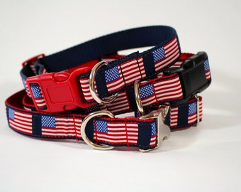 American flag dog collar, fourth of july collar, patriotic collar, molded plastic or metal buckle, pet accessory, pet gift, Bozies Bags