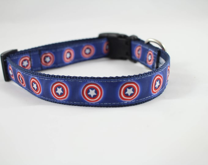 Dog collar, Captain America, Marvel inspired dog collar, Red White and Blue collar, patriotic ribbon, superhero collar, dog collar, pet gift