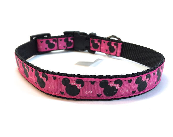 Disney inspired dog collar, pink dog collar, Mickey ears collar, mini mouse dog collar, mouse dog collar, dog accessory, Bozies Bags