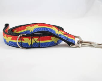 Wonder woman dog leash, dog leash, supergirl leash, superhero leash, superhero dog accessories, DC comics dog gear, pet gifts.