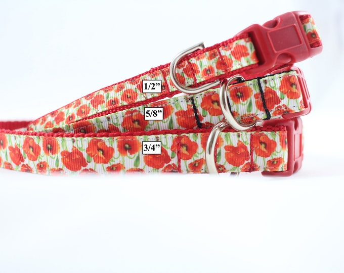 orange flower collar, Small dog collar, poppies, mini dog collar, pet accessories, pet gift, Bozies Bags