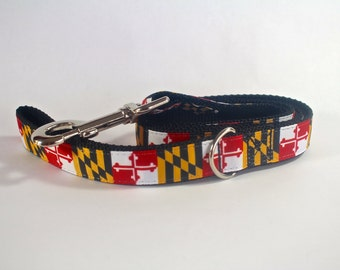 Dog leash, Maryland flag dog leash, Maryland dog leash, 6 foot dog leash, woven ribbon leash, Pet gift, Maryland flag gift,