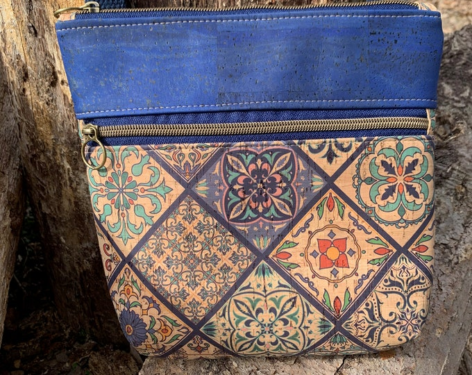 Double zip bag, cross body bag, navy purse, cork purse, blue bag, cork bag, Koda cross body bag, zipper sling bag, vegan purse.