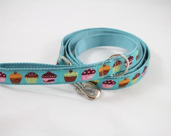 Dog leash,  cupcake ribbon, light blue leash, jacquard ribbon, 6 foot leash, pet accessory, dog gift, pet gift,  Bozies Bags