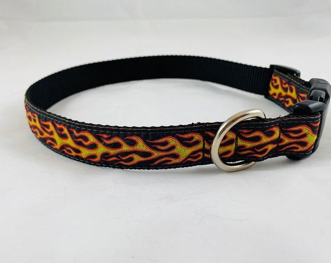 Flame dog collar, hot wheel dog collar, orange collar, nylon collar, pet gift, dog accessory, Bozies Bags