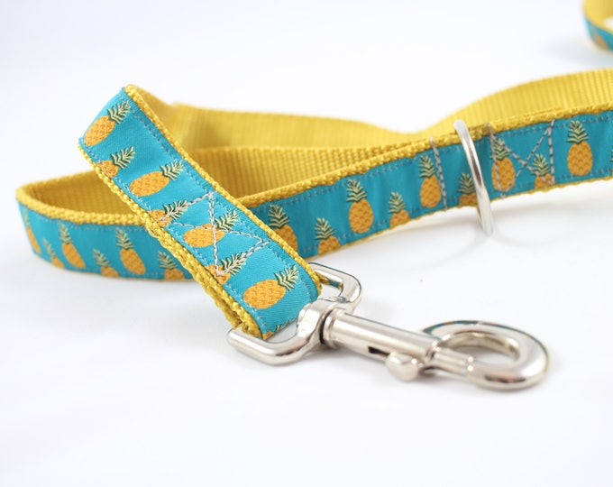 Dog leash,  pineapple ribbon, yellow leash, turquoise leash, jacquard ribbon, 6 foot leash, pet accessory, dog gift, pet gift,  Bozies Bags